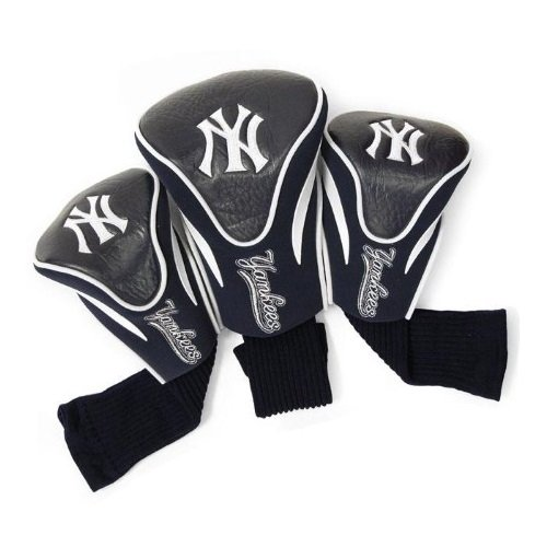 Team Golf MLB New York Yankees Contour Golf Club Headcovers (3 Count), Numbered 1, 3, & X, Fits Oversized Drivers, Utility, Rescue & Fairway Clubs, Velour lined for Extra Club Protection
