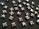 CraftbuddyUS 200 pcs 3mm Silver Square Pyramid Craft Studs, Fashion Embellishment for Bag Shoe