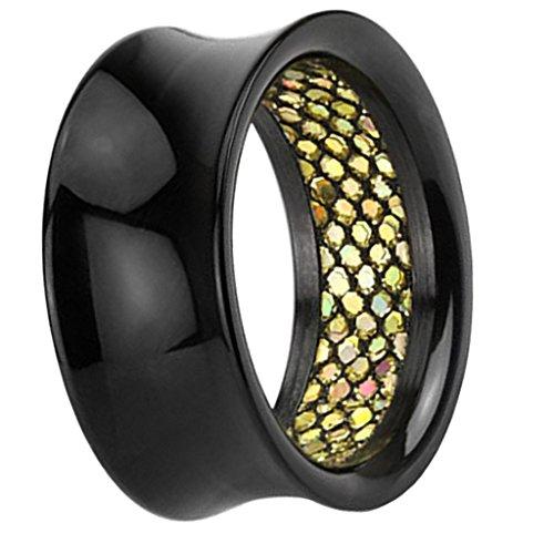 Piersando Flesh Tunnel Ohr Plug Piercing Ohrtunnel Ohrpiercing Kunststoff Double Flared Schwarz mit Gold Rainbow Glitter Inlay 12mm