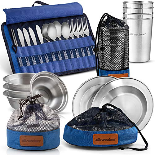 Wealers Unique Complete Messware Kit Polished Stainless Steel Dishes Set| Tableware| Dinnerware| Camping| Buffet| Includes - Cups | Plates| Bowls| Cutlery| Comes in Mesh Bags (4 Person Set) (Blue)