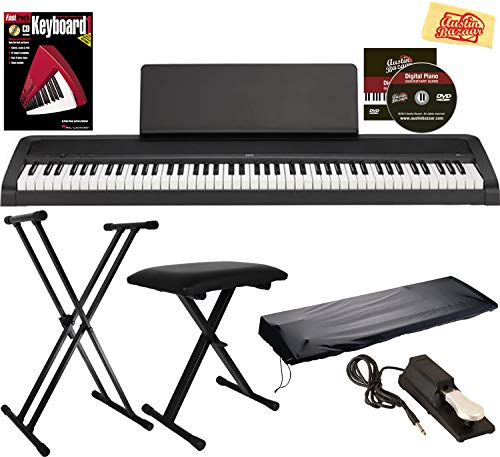 Korg B1 Digital Piano - Black Bundle with STB1 Stand, Furniture Bench, Sustain Pedal, Instructional Book, Instructional DVD, and Austin Bazaar...