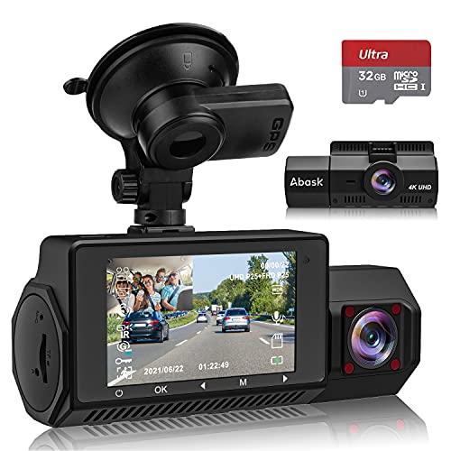 Abask Dashcam Auto Vorne Hinten 4K GPS Infrarot Nachtsicht Autokamera mit 310° Weitwinkel, G-Sensor, Loop-Aufnahm, WDR, 24 Std. Parküberwachung, Sicherere Superkondensator, Max 256 GB Speicherkarte