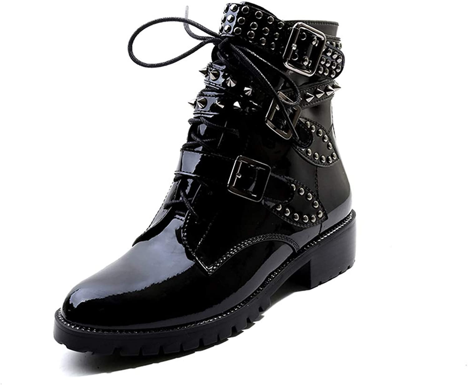 Wetkiss 2018 Latest Patent Leather Motorcycle Boots Women Cool Ankle Bootie Buckle Rivets Boot shoes Woman