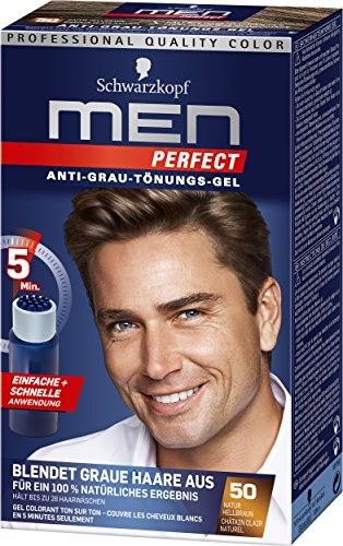 Schwarzkopf Men Perfect Anti-Grau-Tönungs-Gel, 50 Natur Hellbraun, 3er Pack (3 x 80 ml)