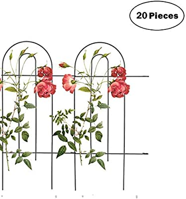 "Mr.Garden Edging Fence Metal Decorative Garden Barrier Panels 20PACK 15""x32"", Dog Outdoor Fence, Coated Folding Border Fences for Garden Patio Tree Ring, Black (Without Decorative Flowers)"