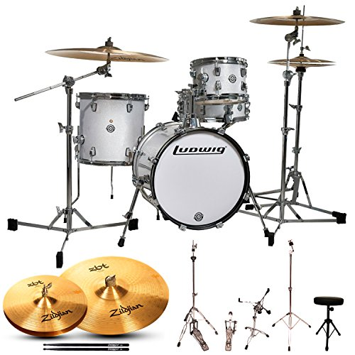 Ludwig JF-LC179X028-KIT-1 Breakbeats by Questlove 4-Piece Starter Drum Set with Cymbals and Accessories, White Sparkle