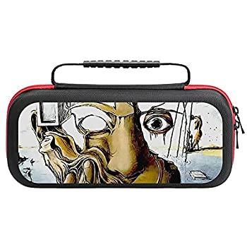 SELF- PORT-RAIT- Abs--tract Salvador Dali Print Carry Case for Nintendo Switch - Hard Shell Travel Carrying Storage Case for Nintendo Switch with 20 Game Cards Holders for Switch Console Pro Controlle