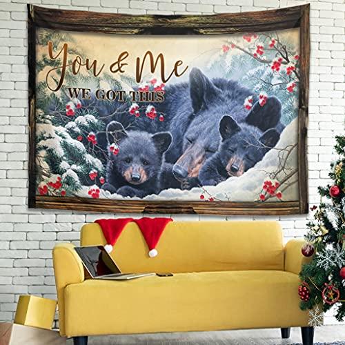 You & Me Bears - Tapiz para colgar en la sala de estar, manta de picnic, tapices decoración blanca de 149,9 x 149,9 cm