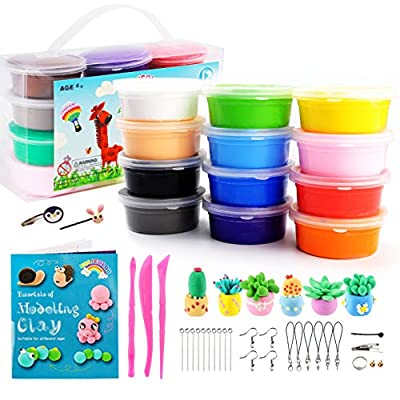 HOLICOLOR Air Dry Clay 12 Colors Non-Toxic DIY Magic Modeling Clay with Sculpting Tools, Accessories, Project Book, Creative DIY Art Crafts for Kids