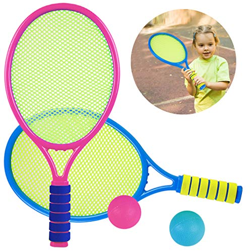 Aniwon Tennisschläger Kinder Spielzeug ab 3-6 Jahre Schläger Set mit 2 Tennisbälle, 2 in 1 Badminton Tennis Schläger Outdoor Strand Beachtennis Set Gartenspiele für Kinder