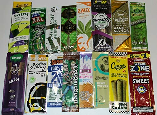 Hemp Rolling Paper Variety 12 Packs Pre Wrap - Billionaire, Juicy, Lit, Twisted, Kingpin, Hemparillo, Zagz, Natty + DSS Scoop Card