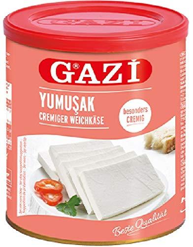 Gazi Yumusak Cremiger Weichkäse - 2x 800g Metalldose - Hirtenkäse Kuhkäse Käse Süzme Beyaz Peynir Cow Cheese 55% Fett i. Tr. 100% Kuhmilch mild mikrobielles Lab vegetarisch glutenfrei Halal