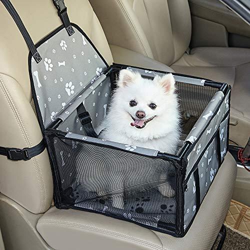 Genorth Autositz für Hunde, tragbar, mit Sicherheitsleine und Hundedecke, perfekt für kleine Haustiere, grau