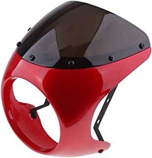 D DOLITY Motorcycle Front Headlight Fairing Screen Retro Cafe Racer Style Universal Windshield Fit 7 Inch Head Light - Red