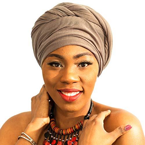 LMVERNA Women Muslim Jersey Scarf Hijab Polyester Scarves Fashion Long Stretch Turban Head Wrap (Nude)