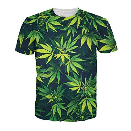 Camiseta unisex 3D con hojas verdes para malas hierbas, divertida camiseta de verano Hip Hop casual Top Tees Moda Street Clothing Plus Size Xd20180530p XL