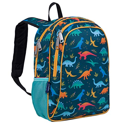 Wildkin Kids 15 Inch Backpack for Boys and Girls, Perfect Size for School and Travel,600-Denier Polyester Backpacks Features Padded Back and Adjustable Strap, Olive Kids, BPA-free (Jurassic Dinosaurs)
