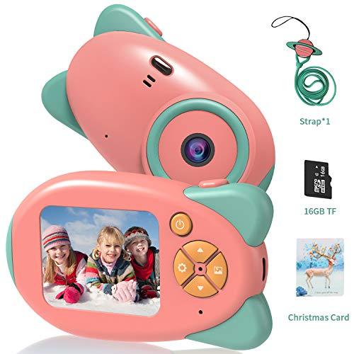 Kinderkamera Digitalkameras, Vannico Mini Kinder Kamera mit 16 TF Karte Weihnachtskarte, Videokamera, Geschenk für Mädchen und Jungen (Pink)