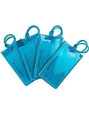 TravelMore – Paquete con 4 Etiquetas para Equipaje, Silicona Flexible – Juego de Etiquetas Identificadoras para Mochilas y Equipaje – Color Azul
