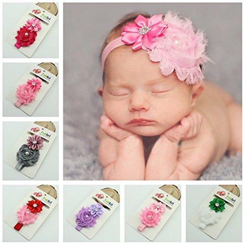 10pcs//lot nouveau-né Bébé Fille en Mousseline de Soie Fleur Toddler élastique Bandeaux Hairband