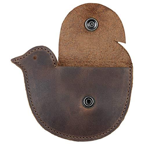 Hide & Drink, Leather Pigeon Coin Wallet / Dove / Chicken / Pouch / Purse / Case / Holder / SD Cards / USB Flash / Cash, Handmade :: Bourbon Brown