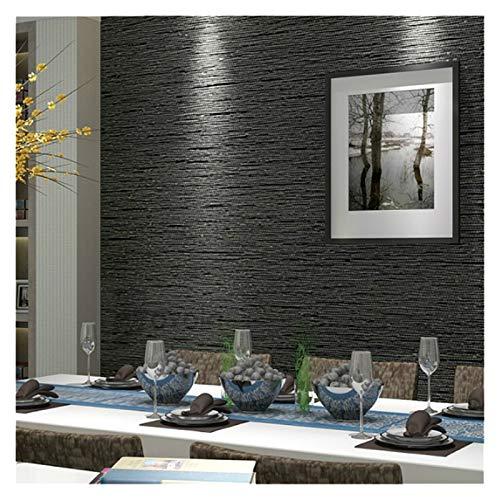 LIANYG Tapeten Grasscloth Effect Plain texturiert Raum Tapete Rolle moderner einfache Wand-Papier for Schlafzimmer Wohnzimmer Wohnkultur, Dunkelgrau Wallpaper (Color : Black Grey, Size : 10mx53cm)