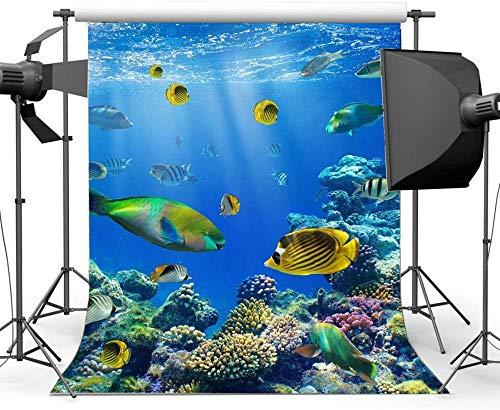 NEW Vinyl 5X7FT 3D Underwater World Backdrop Aquarium Backdrops Fish Coral Blue Sea Tropical Photography Background for Kids Adults Summer Journey Ocean Sailing Portrait Photo Studio Props 522