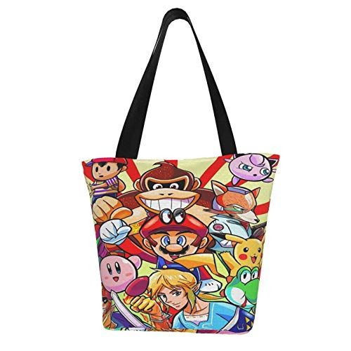Super Smash Bros Mario Legend of Zelda Kirby Pikachu Women Totes Carry Bags Big Capacity Shoulder Handbags Messenger Backpacks Portable Webbing is Strong and Durable