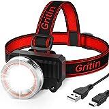 Gritin Lampe Frontale, Torche Frontale LED Rechargeable USB Puissante, Super Lumineux 2000 LM avec Détecteur de Mouvement, 4 Modes d'éclairage, 90° Réglable pour Course/Pêche/Camping/Randonnée