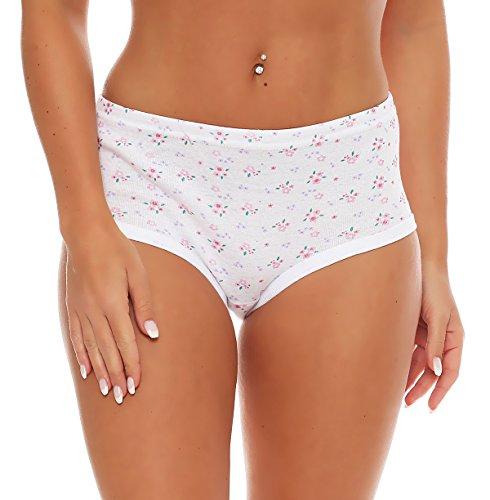 cocain 8 Stück Damen Slip weiß mit Druck, ohne Seitennaht Feinripp 100% Baumwolle Grösse 44/46