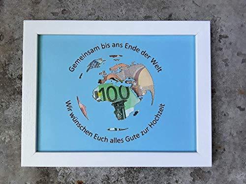 Geldgeschenk Weltkugel im Bilderrahmen, Hochzeitsgeschenk (beschriftet)