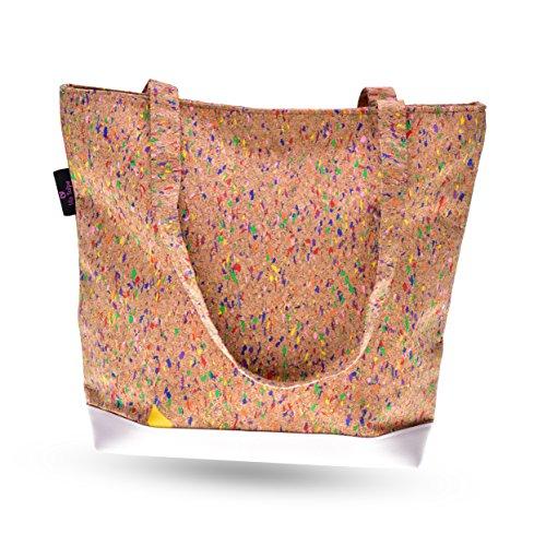 lila Tulpe - Schultertasche Ruby - Damen Handtasche aus Korkleder - Umhängetasche mit Reißverschluss aus Kork und Veganem Leder - Leicht, Vegan und Nachhaltig