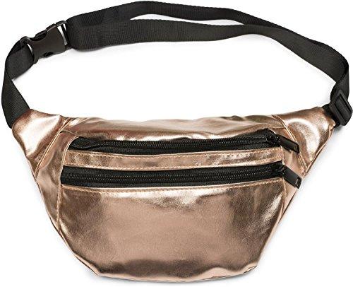 styleBREAKER Gürteltasche im Metallic Look und Reißverschluss, Bauchtasche, Hüfttasche, Damen 02012243, Farbe:Rosegold