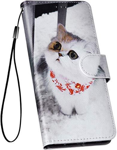 Ysimee Hülle kompatibel mit Huawei P30 Handy Schutzhülle/Klapphülle mit Abnehmbarer Schutz, Lederhülle - [Ständer Funktion] [Reißverschluss] [Kartenslots] [Magnetverschluss], Weiße Katze
