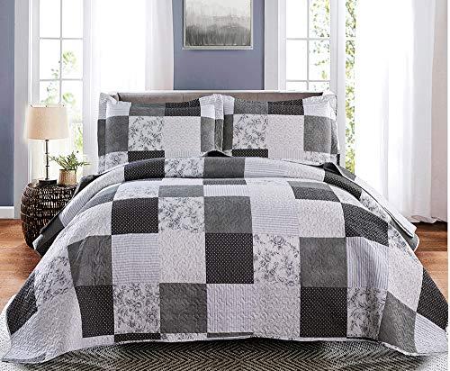 Grey Floral Bedspread King Size Black White Plaid Bedspread Patchwork Bedding Plaid Floral Quilts Lightweight Reversible Vintage Floral Patchwork Bedspread Coverlet Quilt+2 Pillow Shams