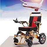 Silla de ruedas, silla de ruedas eléctrica, 29 kg con batería Luz manual plegable Llevar Sillas de ruedas eléctricas duraderas Discapacitados Ancianos Al aire libre Cómodo Silla de ruedas de cuero Au