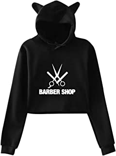 Printed Barber Shop Adult Women's Cute Cat Ear Hoodie Sweater