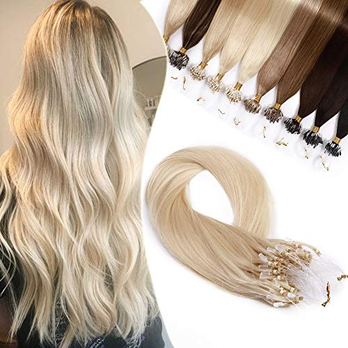 Extension Cheveux Naturel Micro Loop a Froid 1g - Rajout Cheveux Humain 50 Mèches 50g (#60 BLOND PLATINE, 22 Pouces/55cm)
