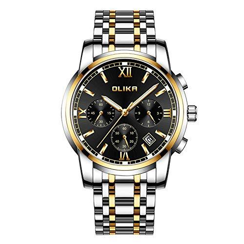 Relojde Hombre de Acero Inoxidable Macizo con Relojde Cuarzo Luminoso y Resistente al Agua Multifuncional para Hombre