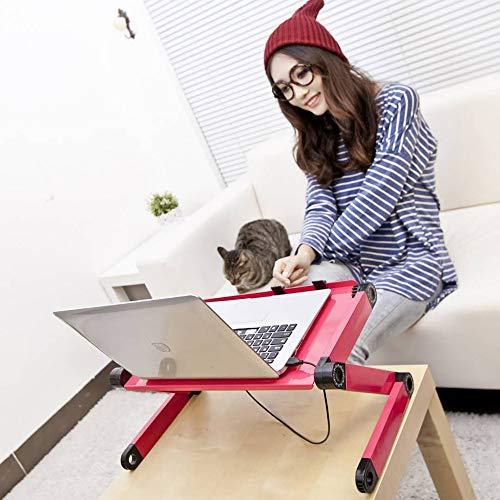 Laptop Desk for Bed and Couch, Portable Adjustable Laptop Stand with Big CPU Cooling Fan and Mouse Pad, Ergonomics Aluminum TV Bed Lap Tray up to 17in, Rose Red Photo #7