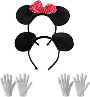 imbottito Cosplay KIRALOVE Cerchietto Nero Travestimento Halloween fiocco morbido bianchi Orecchie Accessori Topolina Bambina Carnevale Donna pois Rosso Minnie Mouse