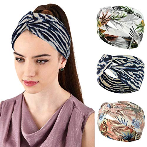Sethexy Diadema ancha bohemia para yoga, banda elástica anudada para la cabeza con estampado de hojas, 3 unidades, banda para el pelo, pañuelo deportivo para la cabeza para mujeres y niñas