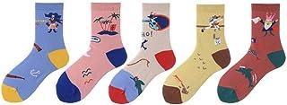WZDSNDQDY Calcetines de algodón de Tubo para Hombre 5 Pares Calcetines de Baloncesto Callejero Ropa Transpirable Calcetines de Skate de Hip Hop Patrones Coloridos de Dibujos Animados