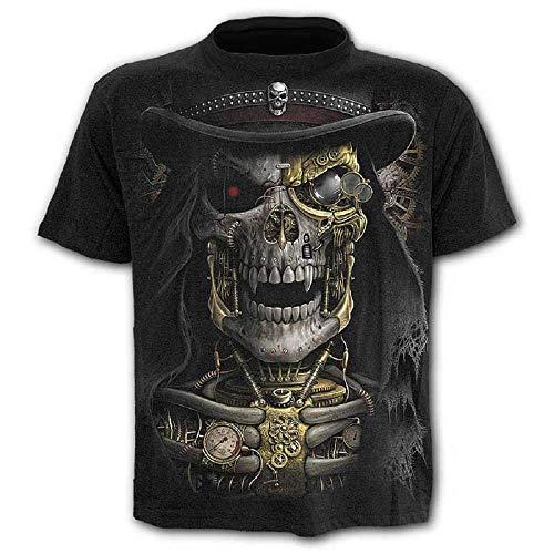 Talla XXL - c010 - Camiseta - Camiseta - Camisa - 3D - Manga Corta - Hombre - Mujer - Unisex - Divertido - Regalo - Cosplay - Disfraz - Calavera - Steampunk - gótico - Rock Vintage