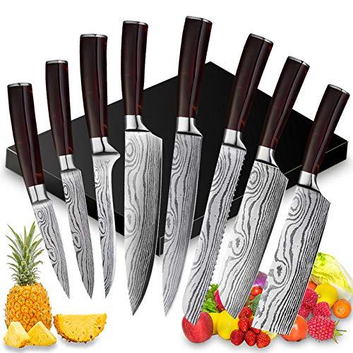 Juego de Cuchillos de Cocina Profesional - 8 Piezas Set Cuchillo Cocina de Cuchillo Chef - Juego Cuchillos Cocina Hecho de Acero Inoxidable Alemán, Cuchillos de Durable con Mango de Resina Roja