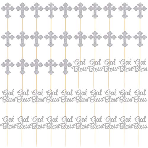 SUBANG 50 Pieces Silver Bless and Baptism Cupcake Toppers Cross Cake Topper Christian Party Decorations Favor Wedding Birthday Cake Decor