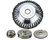 Kagni Cepillo para desbrozadora de Hilo de Acero cortacésped, Cabezal y Tuerca de Bloqueo para motosierras Rectas , 150 x 25,4mm