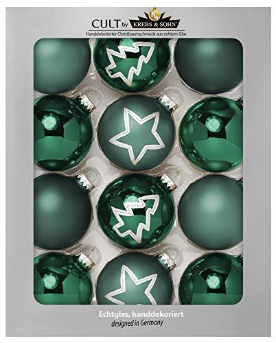 KREBS & SOHN Set Weihnachtskugeln aus Glas 8 cm - Christbaumschmuck Christbaumkugeln Weihnachtsdeko - 12-teilig, Grün, Sterne
