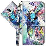MRSTER LG K40 Handytasche, Leder Schutzhülle Brieftasche Hülle Flip Hülle 3D Muster Cover mit Kartenfach Magnet Tasche Handyhüllen für LG K40. YX 3D - Colorful Owl