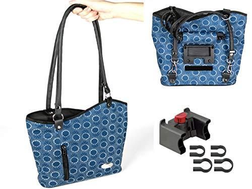 Haberland Klickfix Sac à dos de guidon Melanie bleu avec Adaptateur de guidon